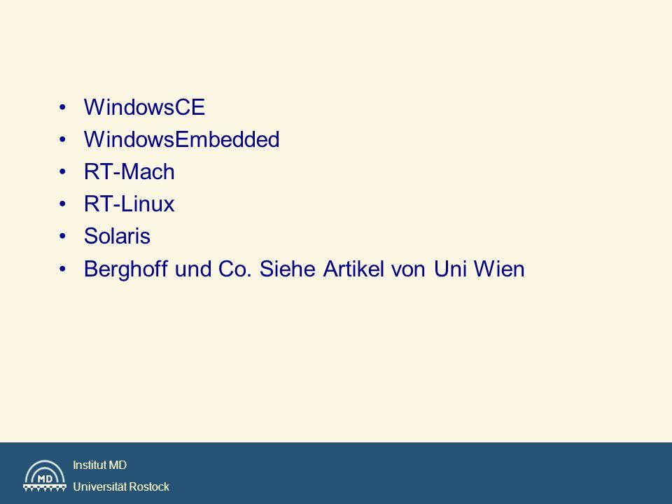 Institut MD Universität Rostock Echtzeit-UNIX-Betriebssysteme RTU (Masscomp)Unix-System mit Preemption Points im Kern e) REAL/IX (MODCOMP) SORIX (Siemens) Unix-System mit voll unterbrechbaren Kern d) Lynux (LynxOS), QNX, SORIXProprietäre Unix-Systemec) RTUX (Emerge System Inc.) MTOS-UX (IPI Integration Unix-System mit EZ- Exekutive b) OS-9 (Microware) pSOS+ (Software Components LynxOS, VxWorks Host-Target-System (Unix-Host) a)