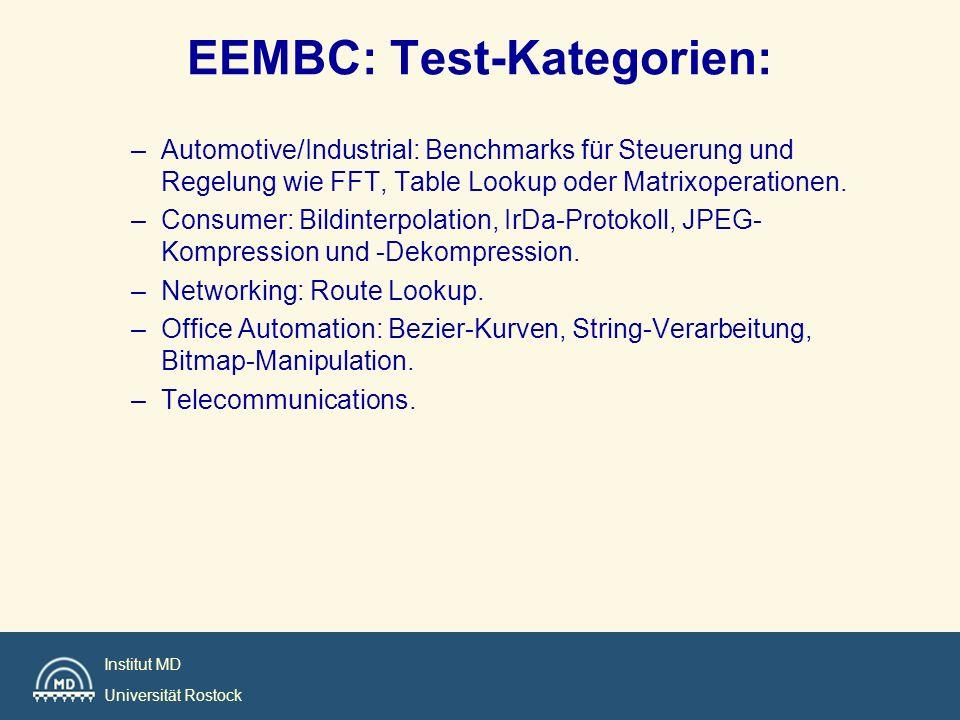 Institut MD Universität Rostock EEMBC: Test-Kategorien: –Automotive/Industrial: Benchmarks für Steuerung und Regelung wie FFT, Table Lookup oder Matri