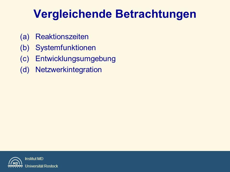 Institut MD Universität Rostock Vergleichende Betrachtungen (a)Reaktionszeiten (b)Systemfunktionen (c)Entwicklungsumgebung (d)Netzwerkintegration
