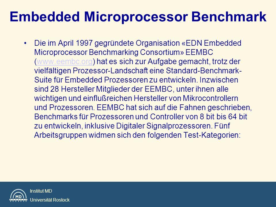 Institut MD Universität Rostock Embedded Microprocessor Benchmark –Automotive/Industrial: Benchmarks für Steuerung und Regelung wie FFT, Table Lookup oder Matrixoperationen.