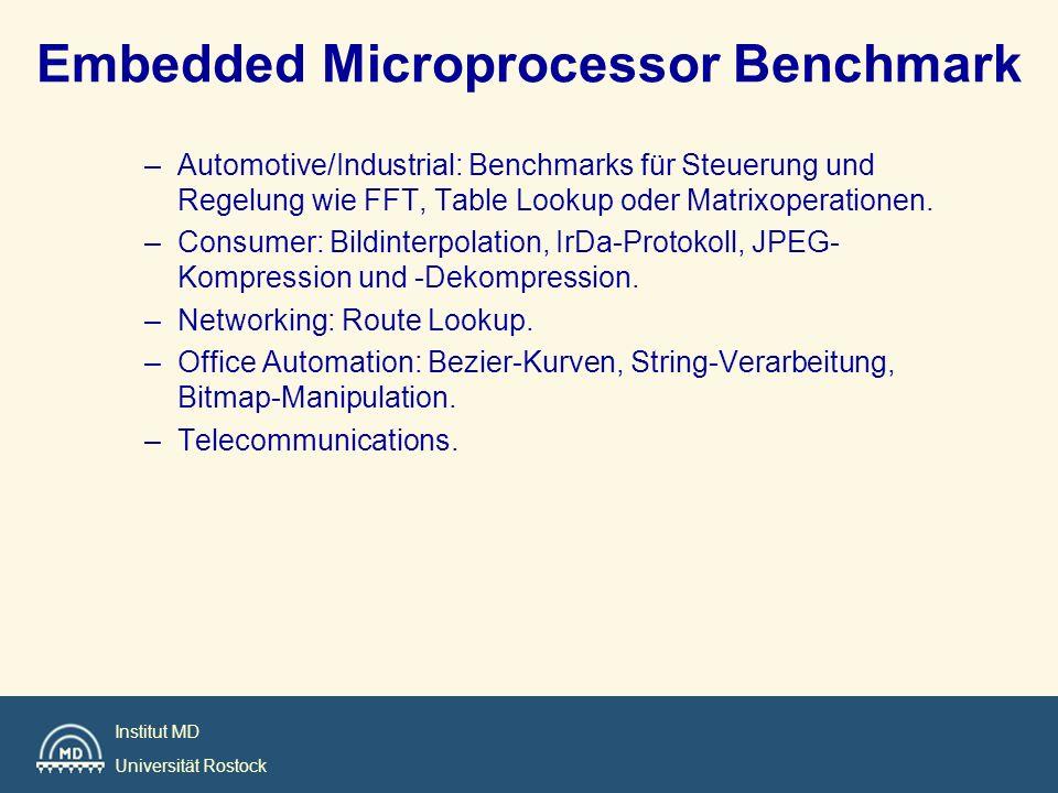 Institut MD Universität Rostock Embedded Microprocessor Benchmark –Automotive/Industrial: Benchmarks für Steuerung und Regelung wie FFT, Table Lookup