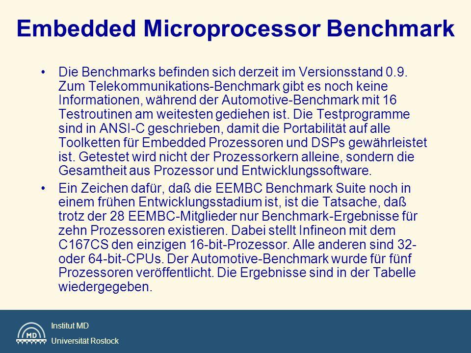 Institut MD Universität Rostock EEMBC: Test-Kategorien: –Automotive/Industrial: Benchmarks für Steuerung und Regelung wie FFT, Table Lookup oder Matrixoperationen.