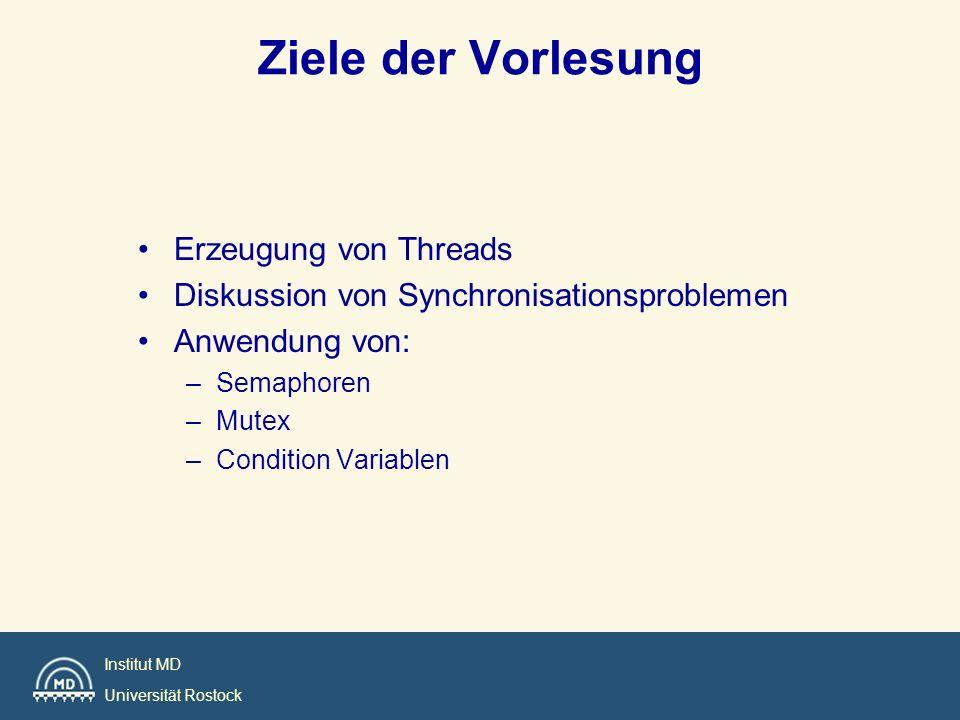 Institut MD Universität Rostock Ziele der Vorlesung Erzeugung von Threads Diskussion von Synchronisationsproblemen Anwendung von: –Semaphoren –Mutex –