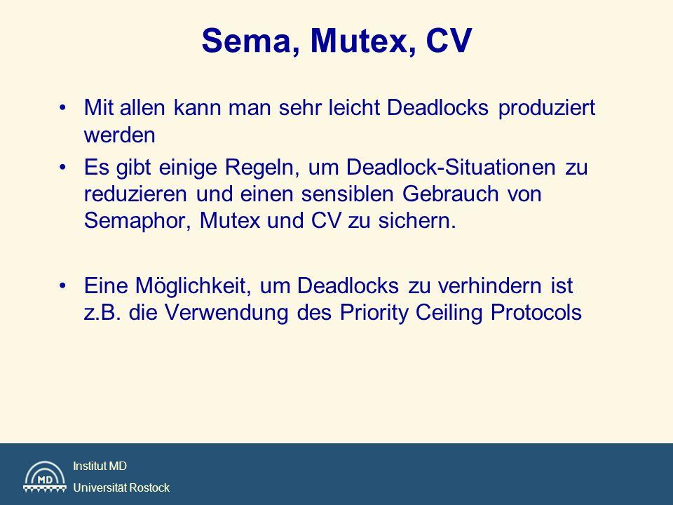 Institut MD Universität Rostock Sema, Mutex, CV Mit allen kann man sehr leicht Deadlocks produziert werden Es gibt einige Regeln, um Deadlock-Situatio