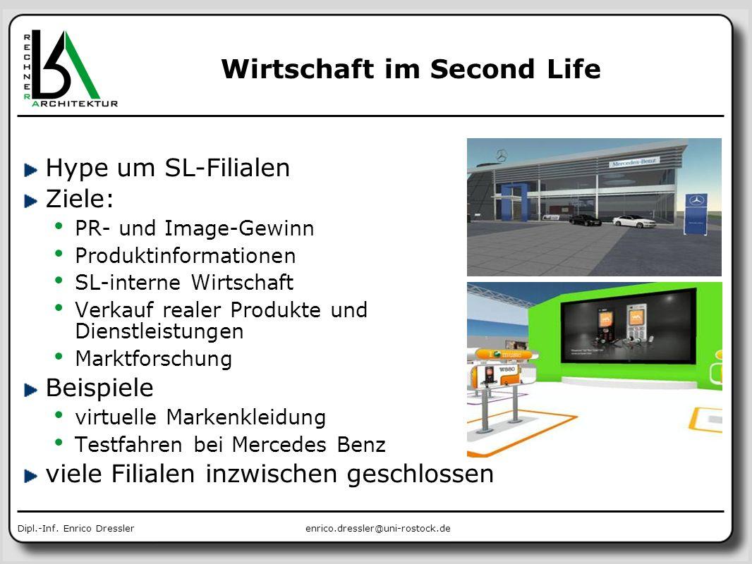 enrico.dressler@uni-rostock.deDipl.-Inf. Enrico Dressler Wirtschaft im Second Life Hype um SL-Filialen Ziele: PR- und Image-Gewinn Produktinformatione