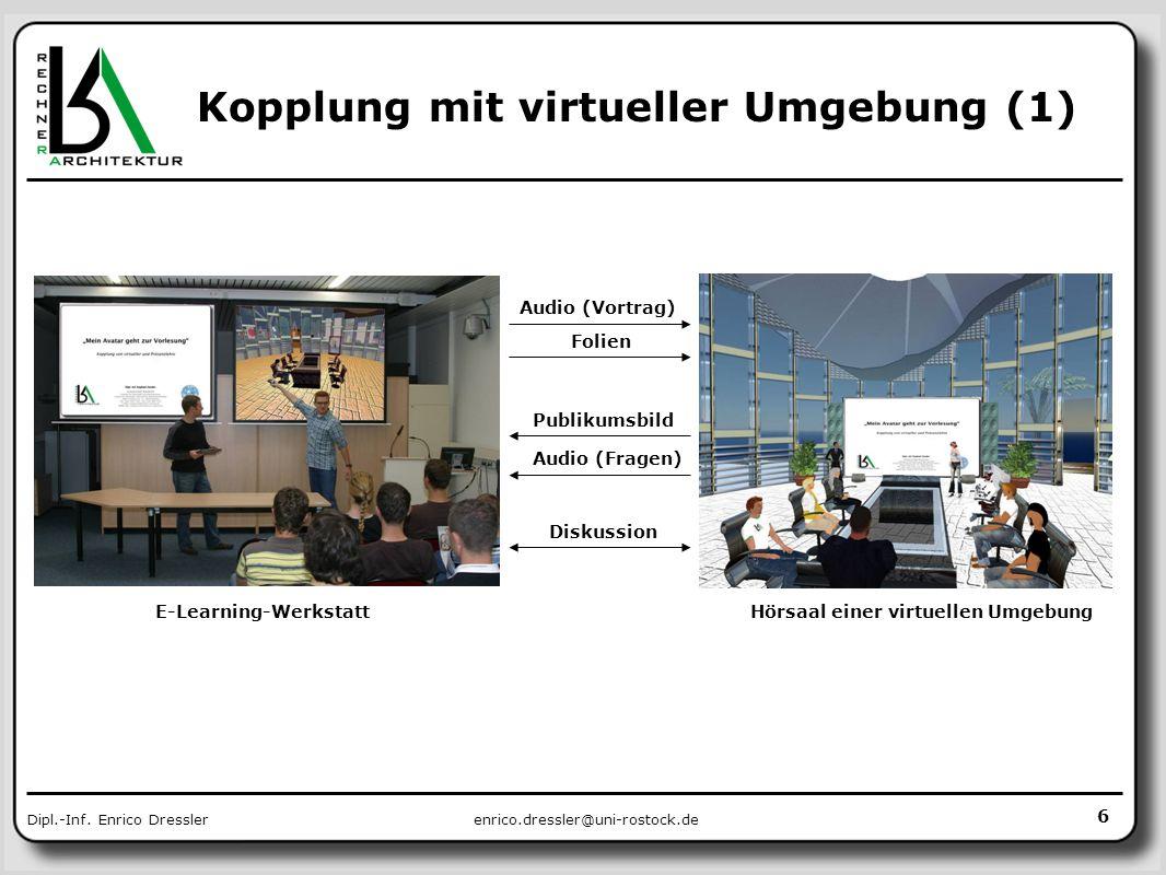 enrico.dressler@uni-rostock.deDipl.-Inf. Enrico Dressler Kopplung mit virtueller Umgebung (1) Audio (Vortrag) Folien Publikumsbild Diskussion E-Learni