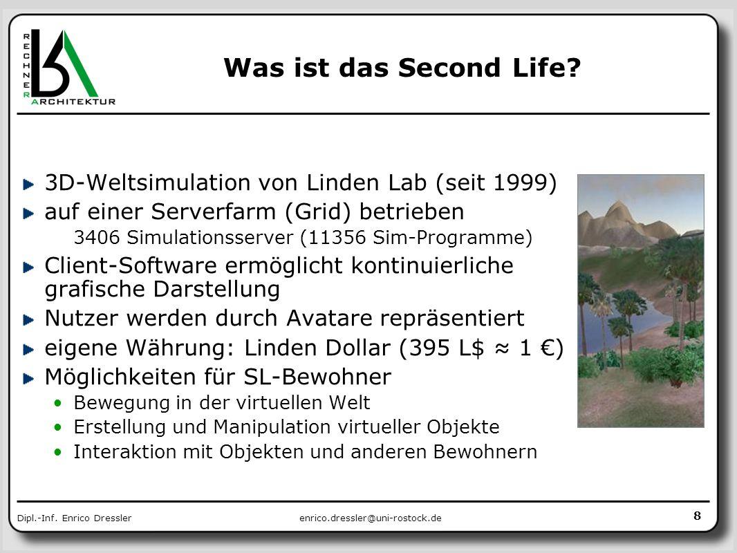 enrico.dressler@uni-rostock.deDipl.-Inf. Enrico Dressler Was ist das Second Life? 3D-Weltsimulation von Linden Lab (seit 1999) auf einer Serverfarm (G