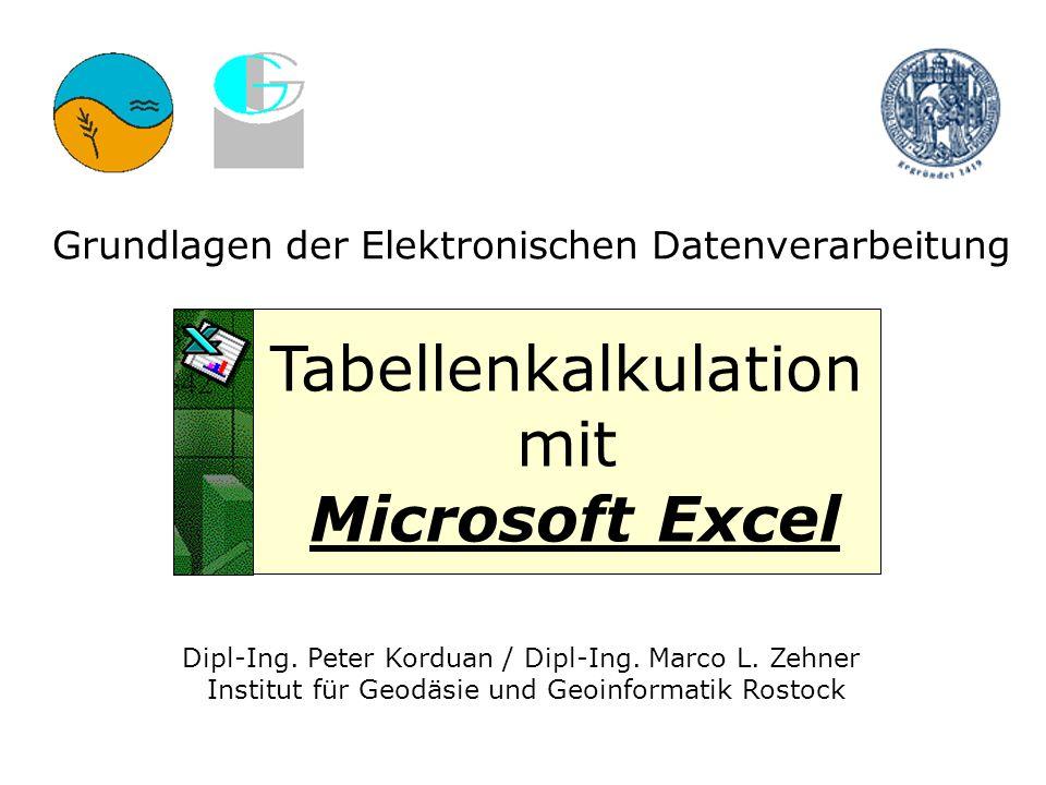 2 Grundlagen der EDV - Tabellenkalkulation mit Excel - Peter Korduan - Uni Rostock - Institut für Geodäsie und Geoinformatik Excel-Einleitung I Windows - Programm für Kalkulationen Als Einzelanwendung oder als Bestandteil des Microsoft Office Paketes Derzeit gänige Versionen 95, 97, 2000, 2002/XP, 2003 Tabellenblätter, in die Zahlen eingegeben werden können, die dann über Formeln verknüpfbar sind Berechnungen mit math.