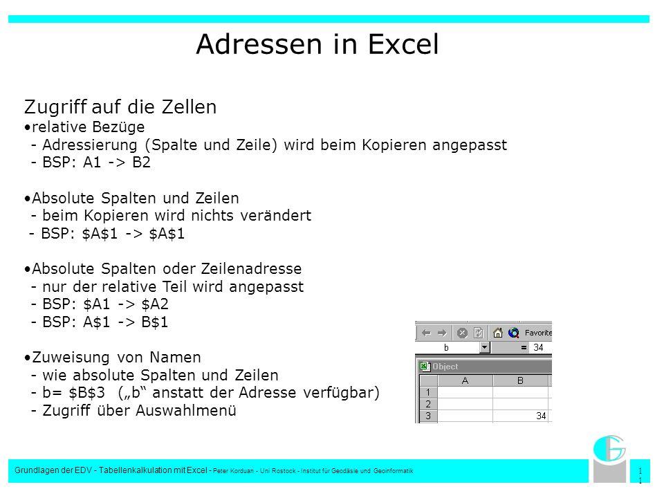 1 Grundlagen der EDV - Tabellenkalkulation mit Excel - Peter Korduan - Uni Rostock - Institut für Geodäsie und Geoinformatik Adressen in Excel Zugriff