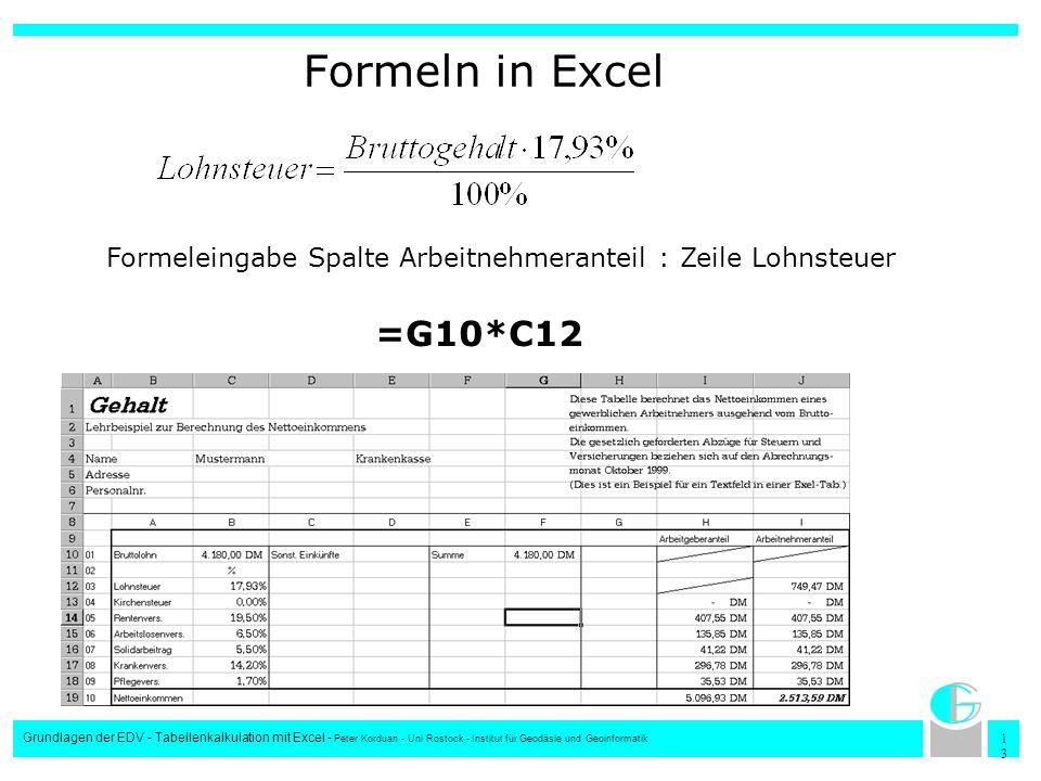1313 Grundlagen der EDV - Tabellenkalkulation mit Excel - Peter Korduan - Uni Rostock - Institut für Geodäsie und Geoinformatik Formeln in Excel Forme