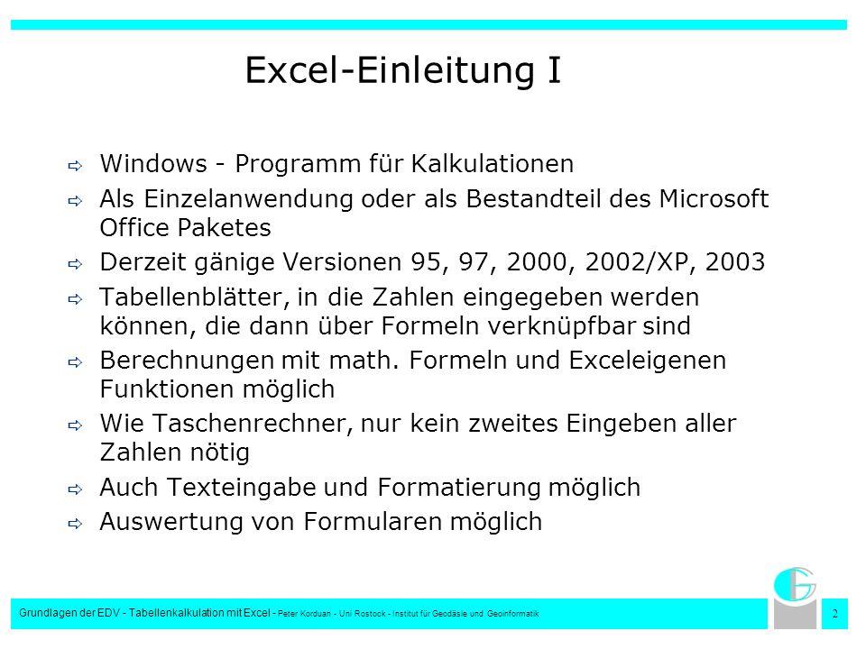 2 Grundlagen der EDV - Tabellenkalkulation mit Excel - Peter Korduan - Uni Rostock - Institut für Geodäsie und Geoinformatik Excel-Einleitung I Window
