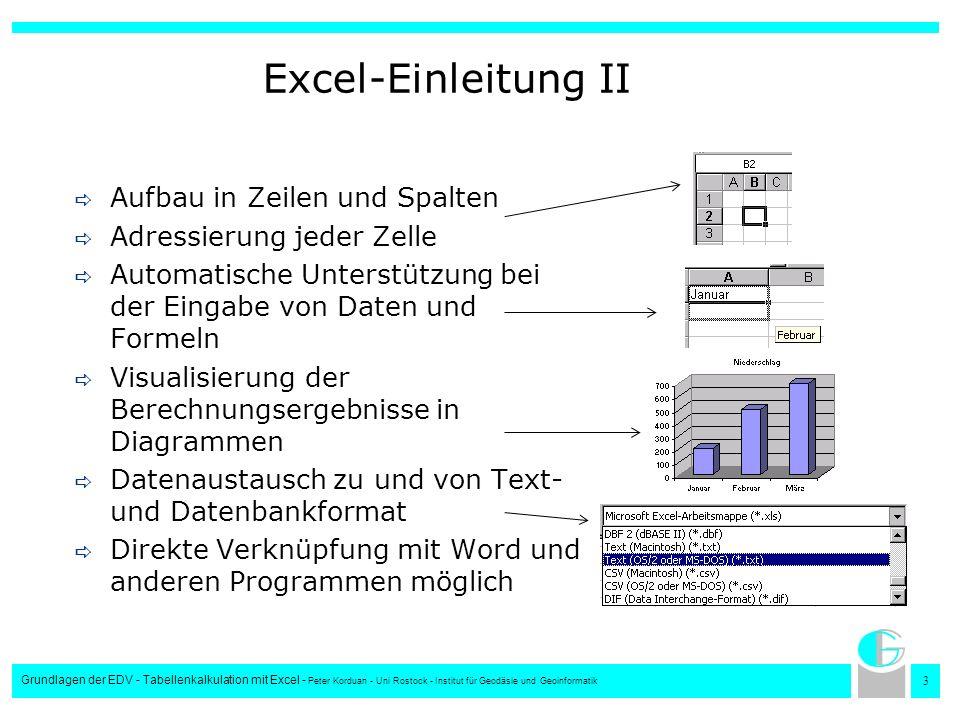 4 Grundlagen der EDV - Tabellenkalkulation mit Excel - Peter Korduan - Uni Rostock - Institut für Geodäsie und Geoinformatik Der Excel-Bildschirm TitelleisteMenüleiste Spaltenbezeichnung Zeilenbezeichnung Bildlaufleiste Tabellenauswahl Symbolleisten Editor