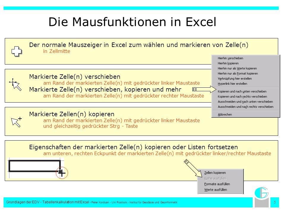 5 Grundlagen der EDV - Tabellenkalkulation mit Excel - Peter Korduan - Uni Rostock - Institut für Geodäsie und Geoinformatik Die Mausfunktionen in Exc