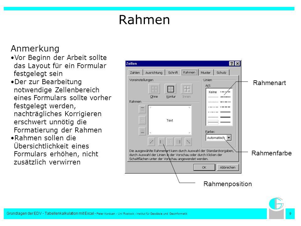 9 Grundlagen der EDV - Tabellenkalkulation mit Excel - Peter Korduan - Uni Rostock - Institut für Geodäsie und Geoinformatik Rahmen Rahmenart Rahmenfa