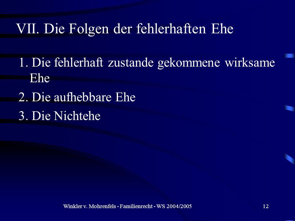 Winkler v. Mohrenfels - Familienrecht - WS 2004/200512 1. Die fehlerhaft zustande gekommene wirksame Ehe 2. Die aufhebbare Ehe 3. Die Nichtehe VII. Di