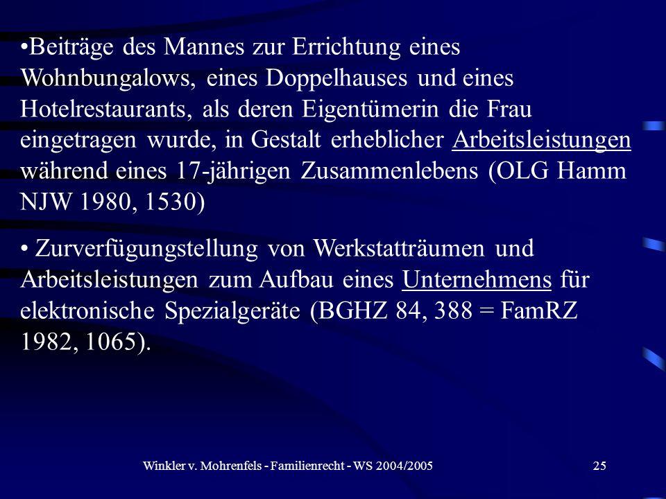 Winkler v. Mohrenfels - Familienrecht - WS 2004/200525 Beiträge des Mannes zur Errichtung eines Wohnbungalows, eines Doppelhauses und eines Hotelresta
