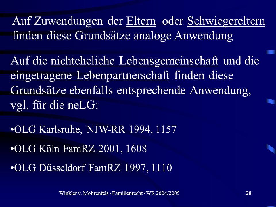 Winkler v. Mohrenfels - Familienrecht - WS 2004/200528 Auf Zuwendungen der Eltern oder Schwiegereltern finden diese Grundsätze analoge Anwendung Auf d