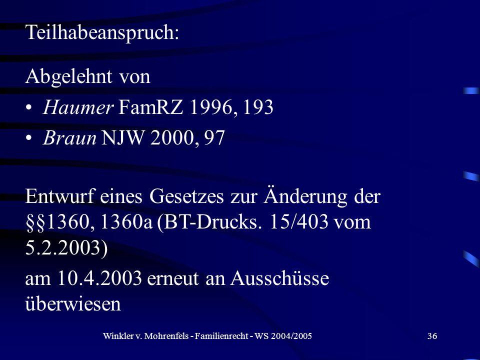 Winkler v. Mohrenfels - Familienrecht - WS 2004/200536 Teilhabeanspruch: Abgelehnt von Haumer FamRZ 1996, 193 Braun NJW 2000, 97 Entwurf eines Gesetze