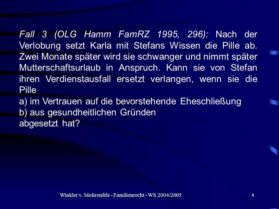 Winkler v. Mohrenfels - Familienrecht - WS 2004/20054 Fall 3 (OLG Hamm FamRZ 1995, 296): Nach der Verlobung setzt Karla mit Stefans Wissen die Pille a