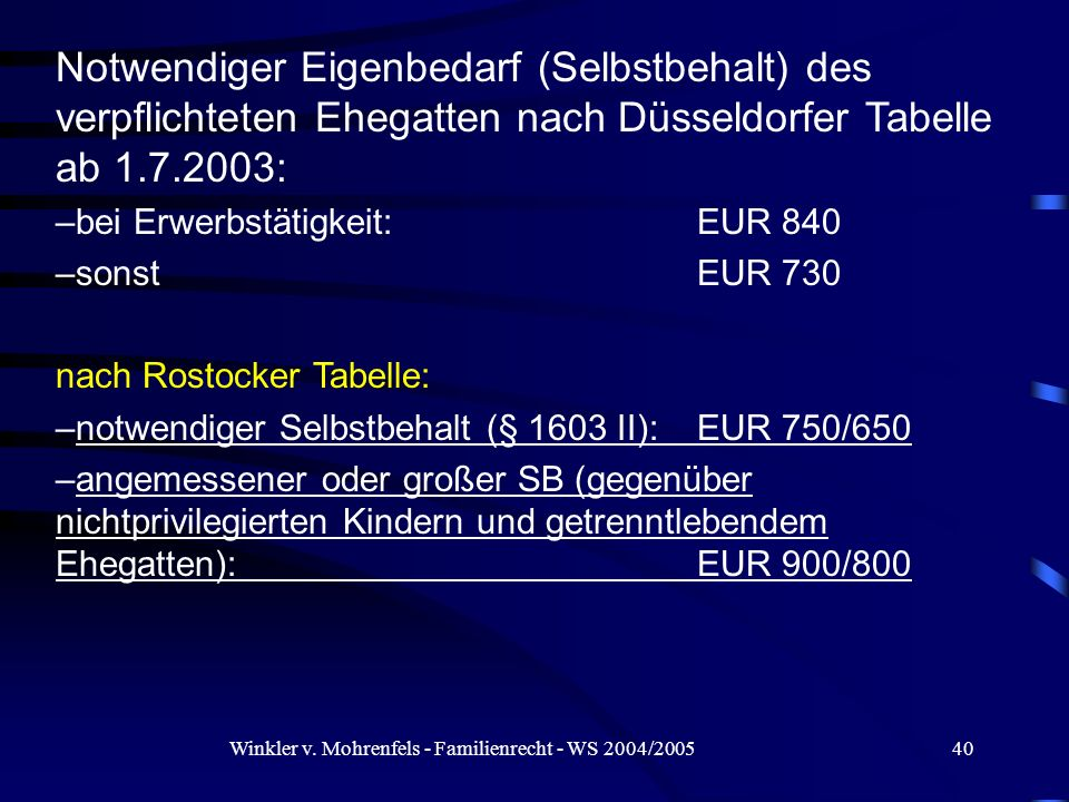 Winkler v. Mohrenfels - Familienrecht - WS 2004/200540 Notwendiger Eigenbedarf (Selbstbehalt) des verpflichteten Ehegatten nach Düsseldorfer Tabelle a