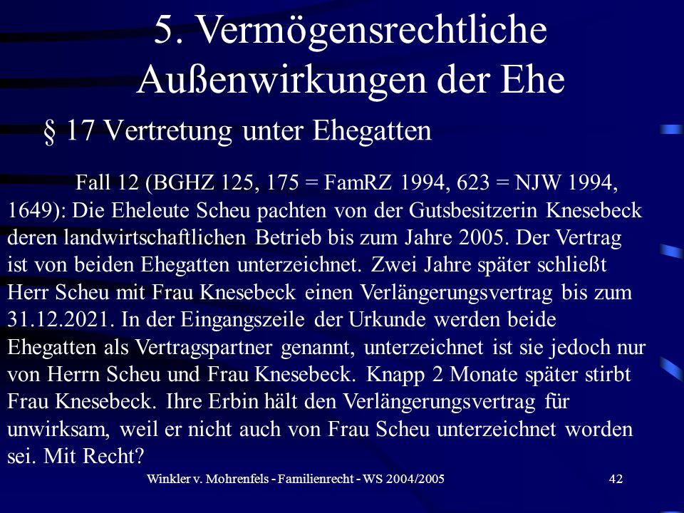 Winkler v. Mohrenfels - Familienrecht - WS 2004/200542 § 17 Vertretung unter Ehegatten 5. Vermögensrechtliche Außenwirkungen der Ehe Fall 12 (BGHZ 125