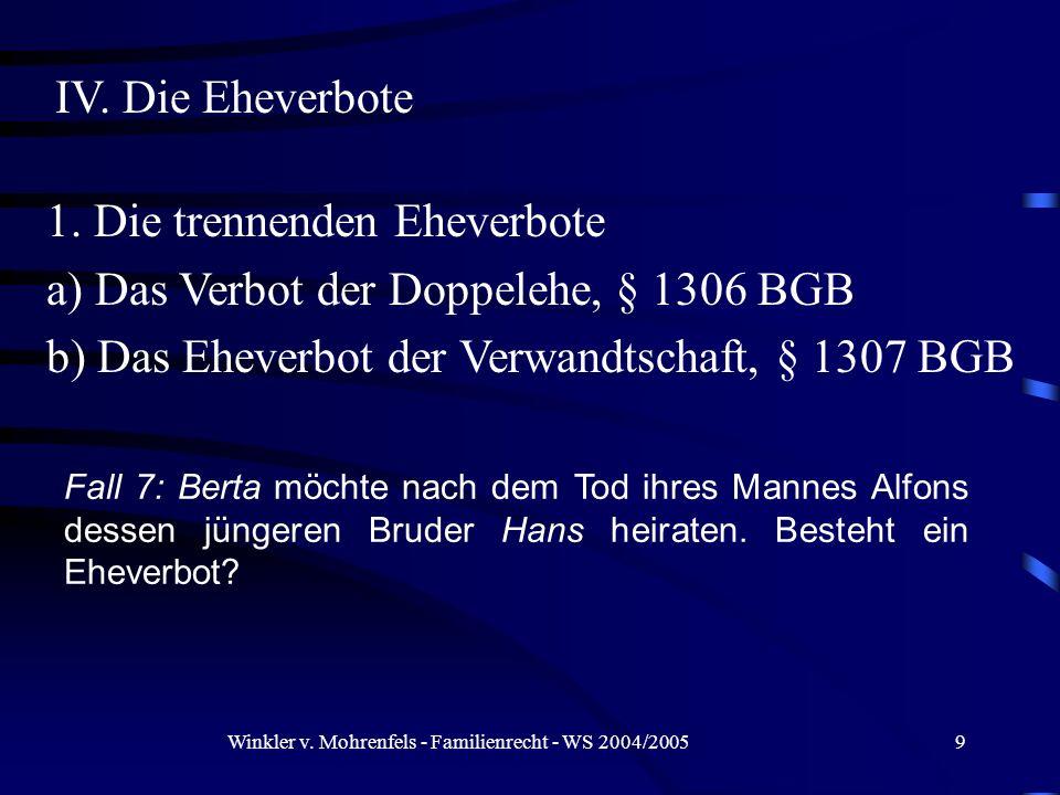 Winkler v. Mohrenfels - Familienrecht - WS 2004/20059 Fall 7: Berta möchte nach dem Tod ihres Mannes Alfons dessen jüngeren Bruder Hans heiraten. Best
