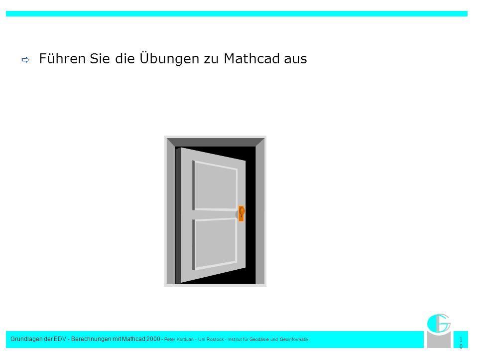 1010 Grundlagen der EDV - Berechnungen mit Mathcad 2000 - Peter Korduan - Uni Rostock - Institut für Geodäsie und Geoinformatik Führen Sie die Übungen