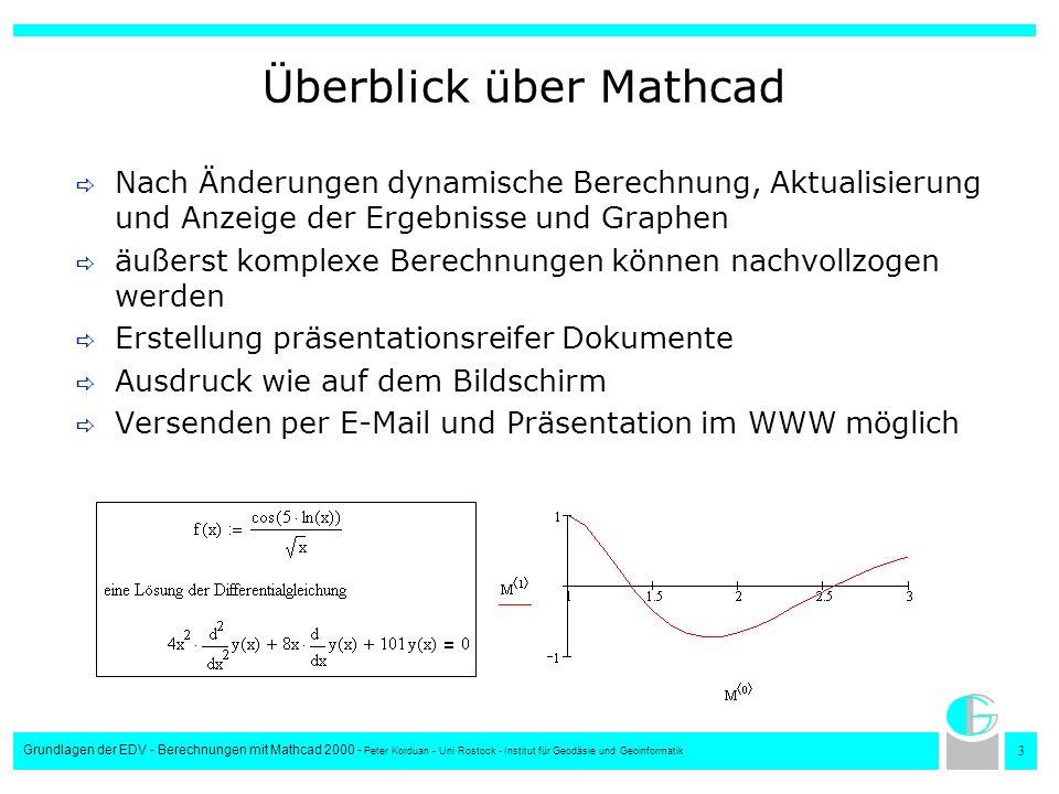 4 Grundlagen der EDV - Berechnungen mit Mathcad 2000 - Peter Korduan - Uni Rostock - Institut für Geodäsie und Geoinformatik Der Mathcad Arbeitsbereich TitelleisteMenüleisteSymbolleisten Fadenkreuz Lineal Arbeits- bereich Scroll- leisten Seitenrand