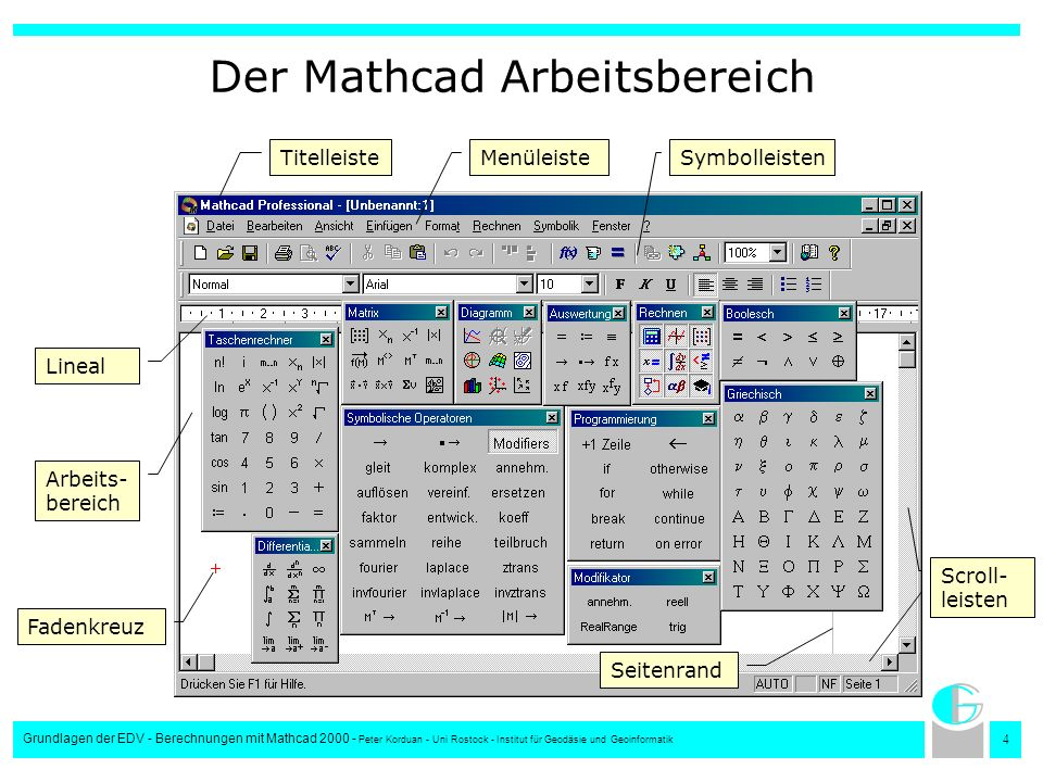 5 Grundlagen der EDV - Berechnungen mit Mathcad 2000 - Peter Korduan - Uni Rostock - Institut für Geodäsie und Geoinformatik Eingeben von Formeln, Berechnen und Zuweisen von Variablen 1+2=3 Formel berechnen i:=1+2 Werte Zuweisen i=3 Werte ausgeben Bearbeiten von komplexeren Formeln Integral- und Differenzialrechnung Vektoren und Matrizen Reihenfolge bei der Berechnung: von links nach rechts und von oben nach unten 12 5 3 4