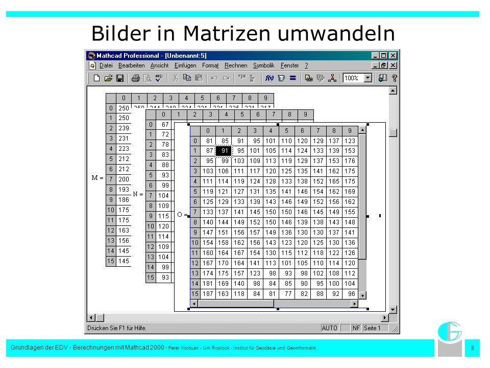 9 Grundlagen der EDV - Berechnungen mit Mathcad 2000 - Peter Korduan - Uni Rostock - Institut für Geodäsie und Geoinformatik Matrizen in Flächendiagrammen darstellen