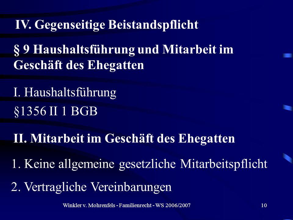 Winkler v. Mohrenfels - Familienrecht - WS 2006/200710 IV. Gegenseitige Beistandspflicht § 9 Haushaltsführung und Mitarbeit im Geschäft des Ehegatten