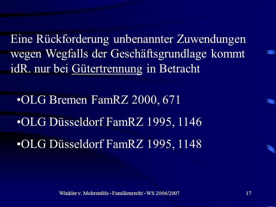 Winkler v. Mohrenfels - Familienrecht - WS 2006/200717 Eine Rückforderung unbenannter Zuwendungen wegen Wegfalls der Geschäftsgrundlage kommt idR. nur