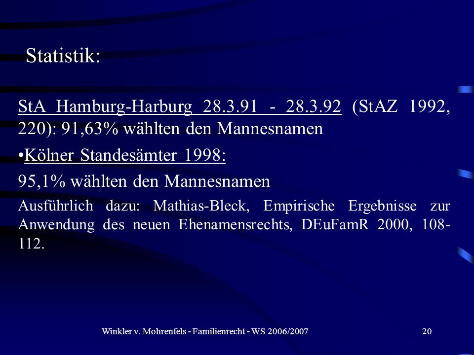 Winkler v. Mohrenfels - Familienrecht - WS 2006/200720 StA Hamburg-Harburg 28.3.91 - 28.3.92 (StAZ 1992, 220): 91,63% wählten den Mannesnamen Kölner S
