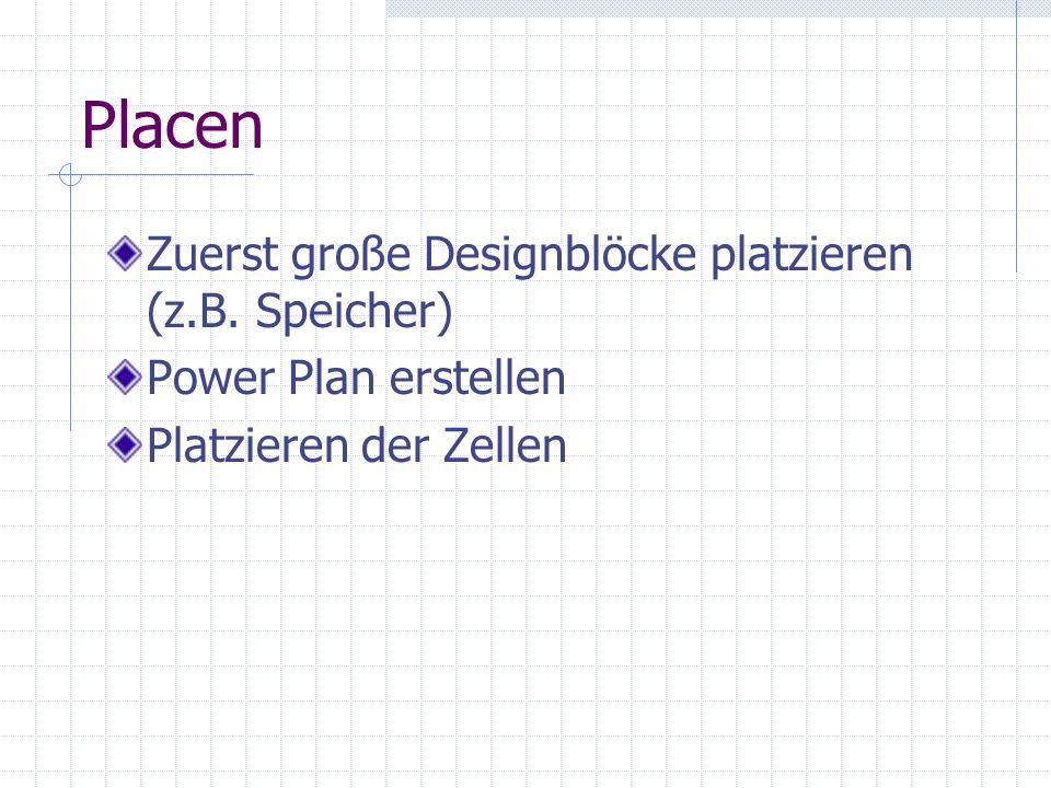 Placen Zuerst große Designblöcke platzieren (z.B. Speicher) Power Plan erstellen Platzieren der Zellen