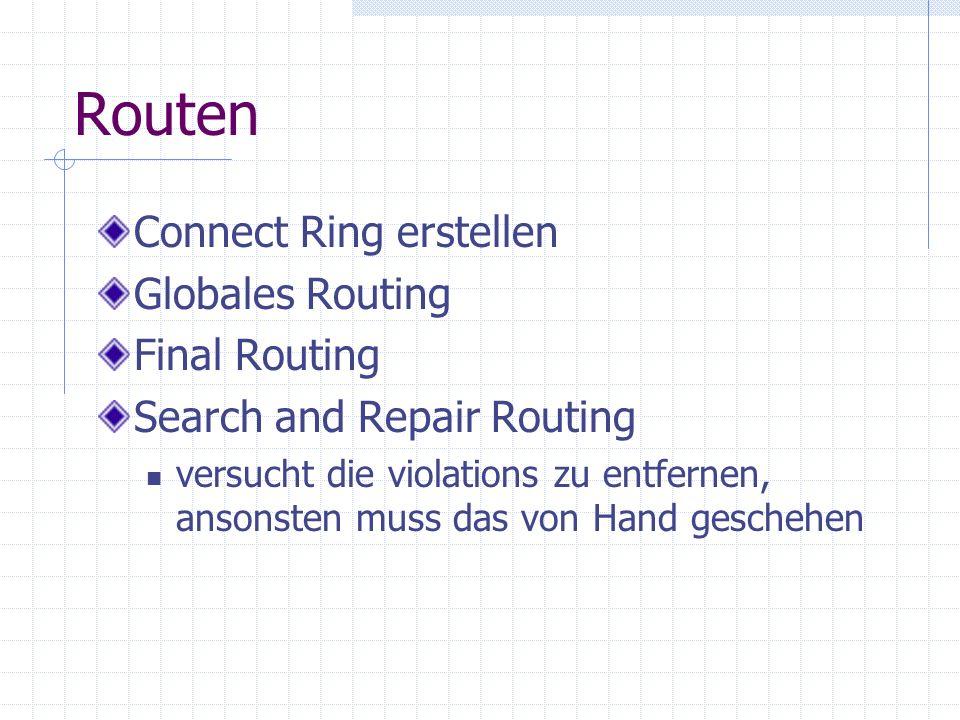 Routen Connect Ring erstellen Globales Routing Final Routing Search and Repair Routing versucht die violations zu entfernen, ansonsten muss das von Hand geschehen