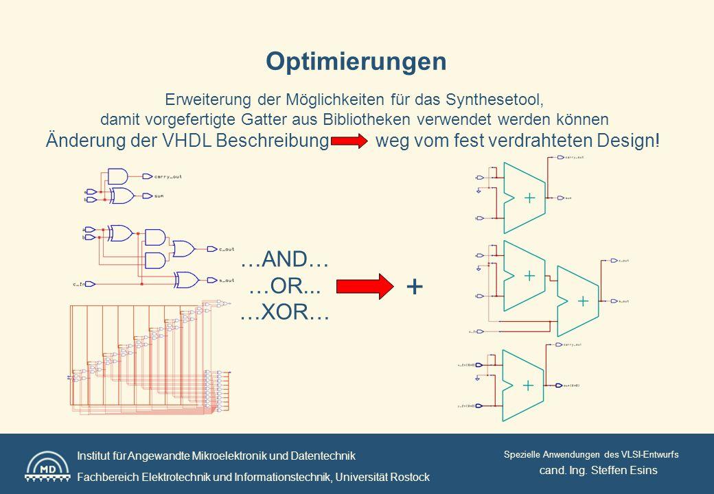 Institut für Angewandte Mikroelektronik und Datentechnik Fachbereich Elektrotechnik und Informationstechnik, Universität Rostock Spezielle Anwendungen des VLSI-Entwurfs Optimierungen cand.