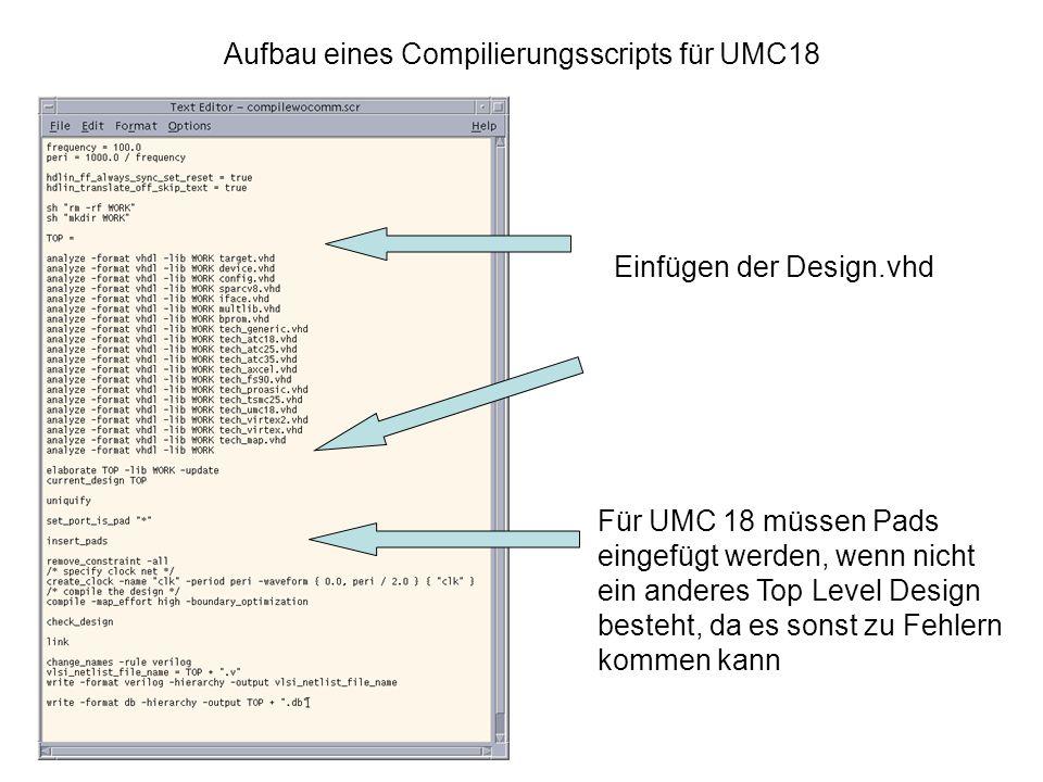 Aufbau eines Compilierungsscripts für UMC18 Einfügen der Design.vhd Für UMC 18 müssen Pads eingefügt werden, wenn nicht ein anderes Top Level Design besteht, da es sonst zu Fehlern kommen kann