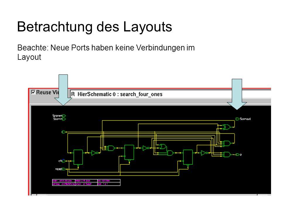 Betrachtung des Layouts Beachte: Neue Ports haben keine Verbindungen im Layout