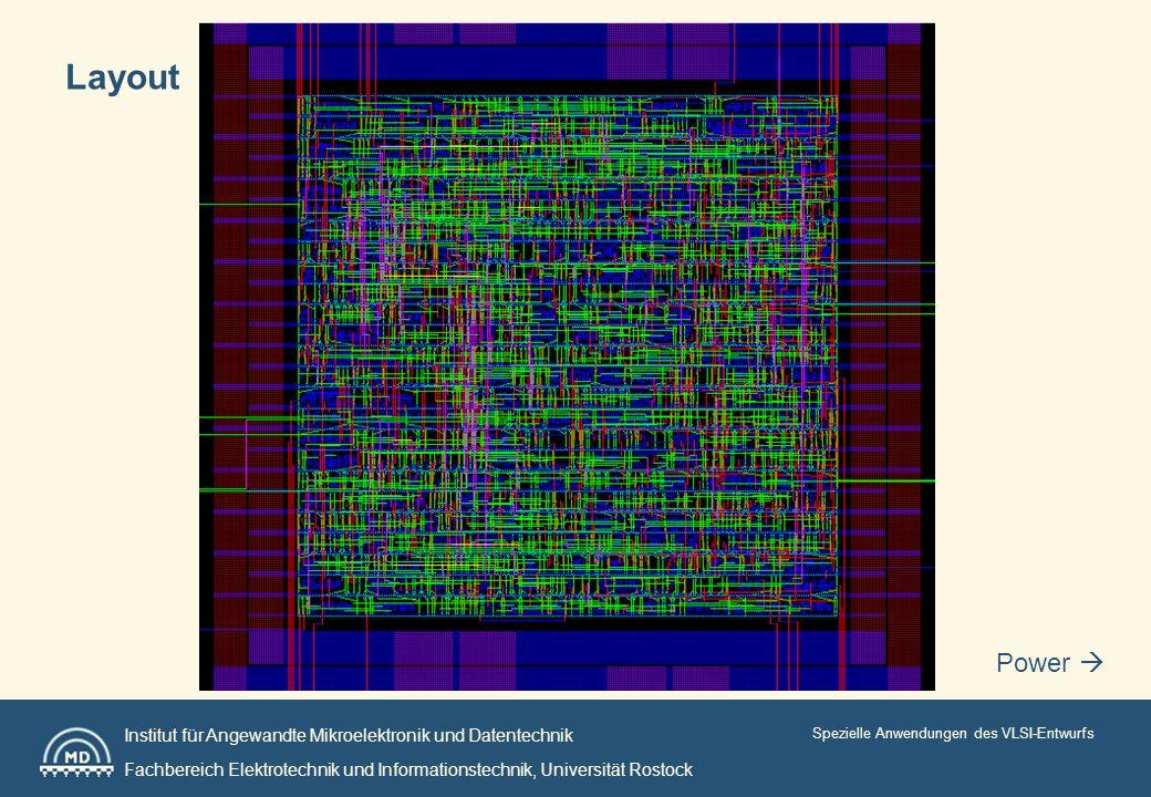 Institut für Angewandte Mikroelektronik und Datentechnik Fachbereich Elektrotechnik und Informationstechnik, Universität Rostock Spezielle Anwendungen des VLSI-Entwurfs Power Layout