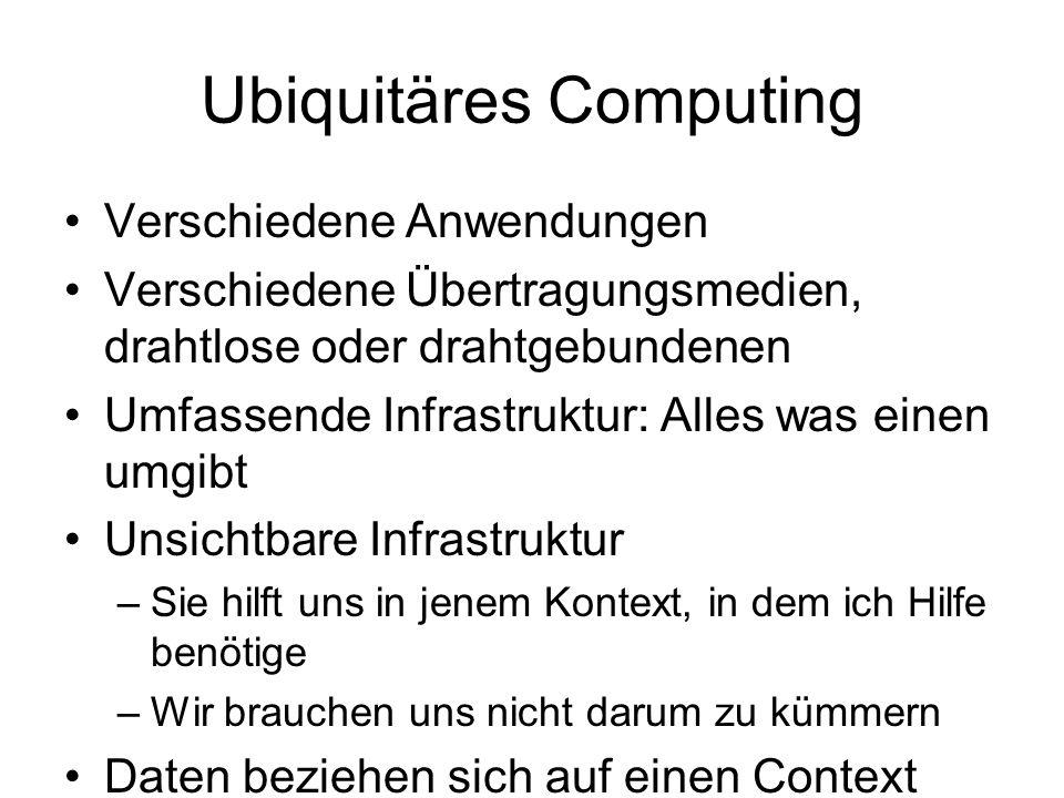 Ubiquitäres Computing Verschiedene Anwendungen Verschiedene Übertragungsmedien, drahtlose oder drahtgebundenen Umfassende Infrastruktur: Alles was einen umgibt Unsichtbare Infrastruktur –Sie hilft uns in jenem Kontext, in dem ich Hilfe benötige –Wir brauchen uns nicht darum zu kümmern Daten beziehen sich auf einen Context Die persönlichen Informationen/ Anwendungen gehen mit dem Anwender durchs Netzwerk
