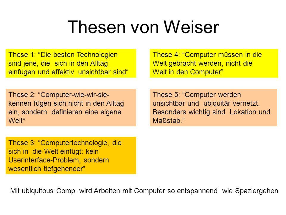 Thesen von Weiser These 5: Computer werden unsichtbar und ubiquitär vernetzt.