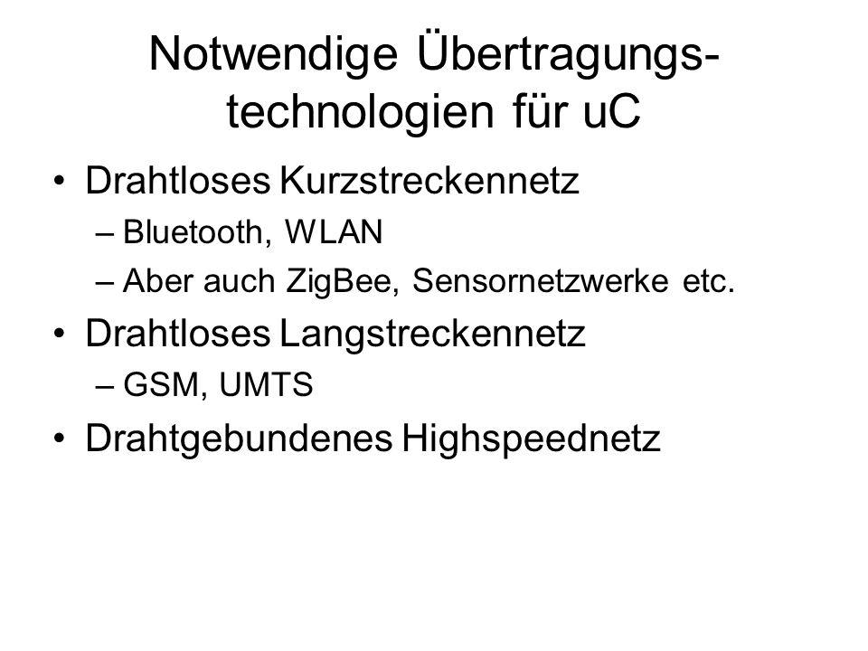 Notwendige Übertragungs- technologien für uC Drahtloses Kurzstreckennetz –Bluetooth, WLAN –Aber auch ZigBee, Sensornetzwerke etc.