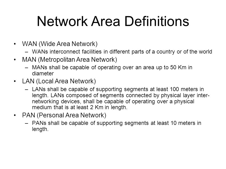 Network Area Definitions WAN (Wide Area Network) –WANs interconnect facilities in different parts of a country or of the world MAN (Metropolitan Area