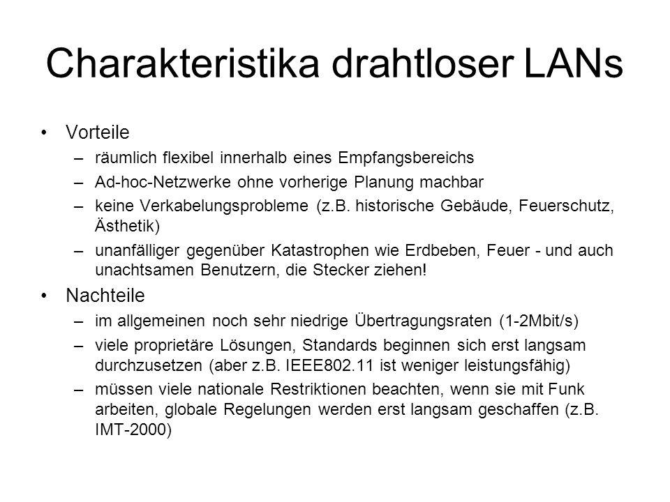 Charakteristika drahtloser LANs Vorteile –räumlich flexibel innerhalb eines Empfangsbereichs –Ad-hoc-Netzwerke ohne vorherige Planung machbar –keine Verkabelungsprobleme (z.B.