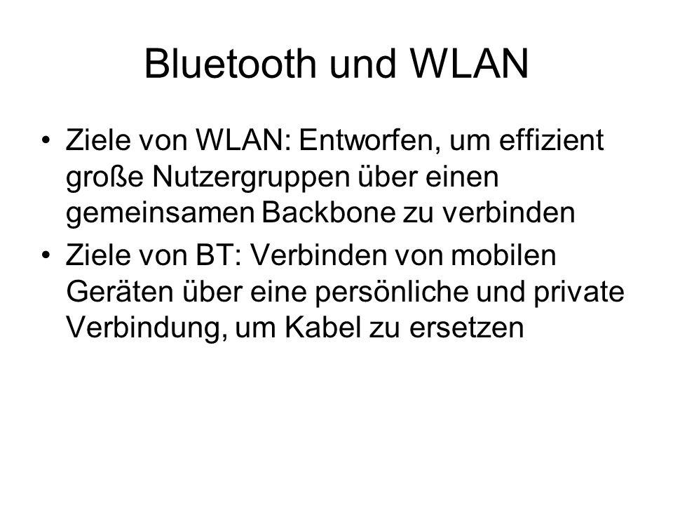 Bluetooth und WLAN Ziele von WLAN: Entworfen, um effizient große Nutzergruppen über einen gemeinsamen Backbone zu verbinden Ziele von BT: Verbinden von mobilen Geräten über eine persönliche und private Verbindung, um Kabel zu ersetzen
