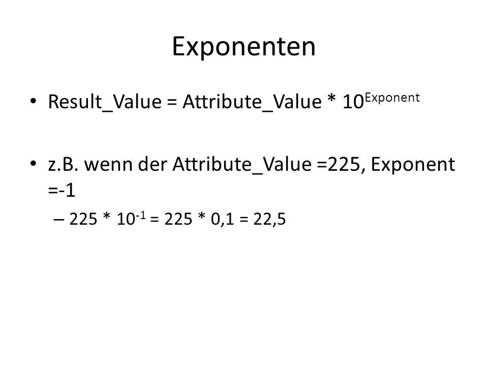 Exponenten Result_Value = Attribute_Value * 10 Exponent z.B. wenn der Attribute_Value =225, Exponent =-1 – 225 * 10 -1 = 225 * 0,1 = 22,5