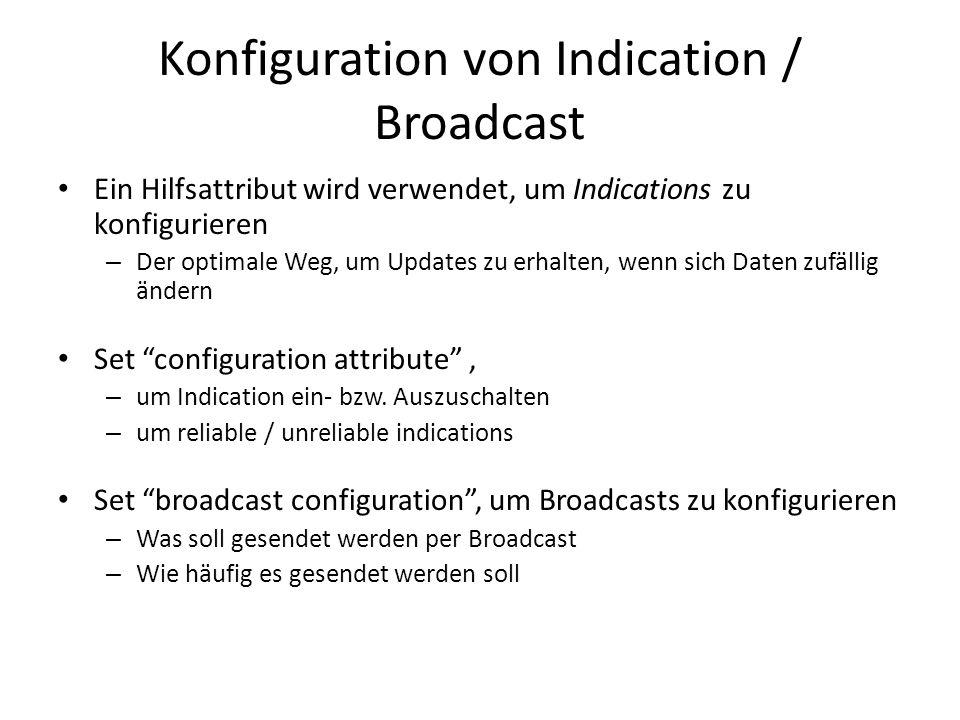 Konfiguration von Indication / Broadcast Ein Hilfsattribut wird verwendet, um Indications zu konfigurieren – Der optimale Weg, um Updates zu erhalten,