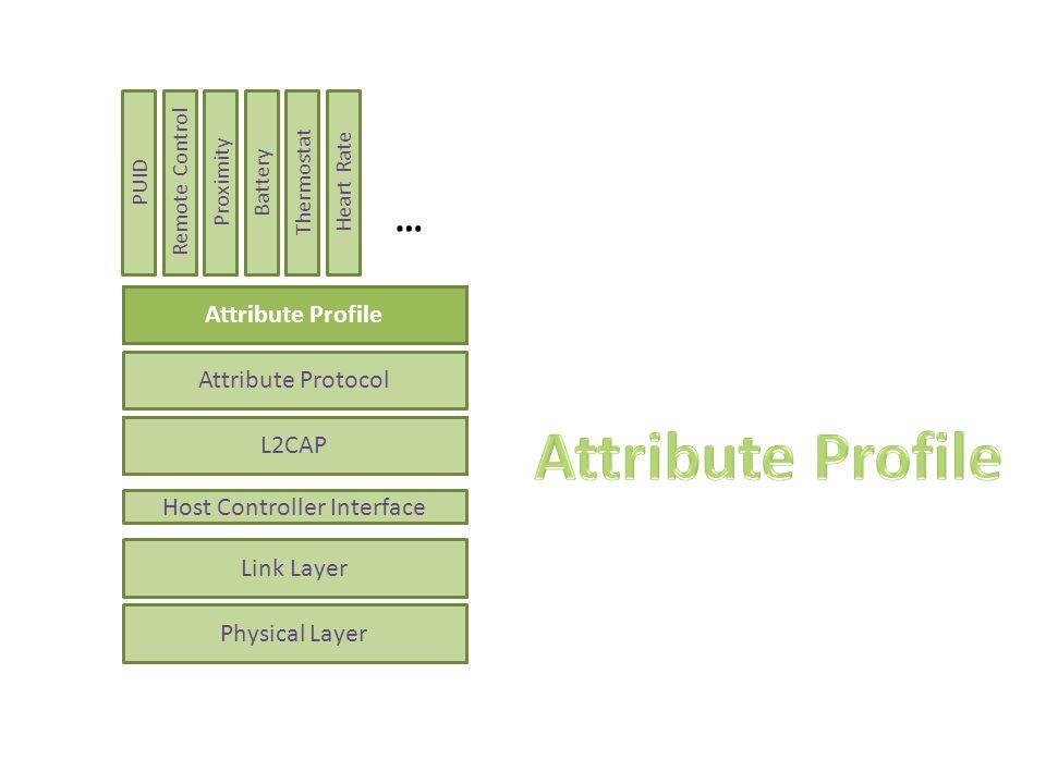 Attribute Protokoll hat nur eine flache Struktur – Profile erfordern eine hierachische Struktur Definiert, wie Attribute zu gruppieren sind – Gruppenattribute in einem Service – Gruppenattribute in einem Service – Sub- Services – Gruppenattribute von Clients Attribute Profile