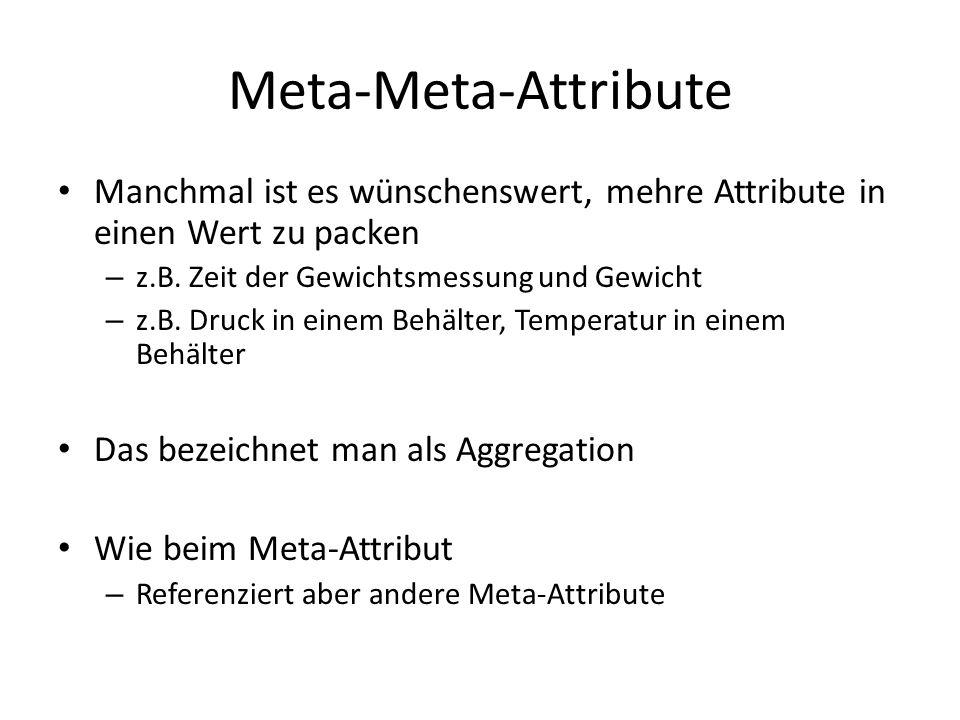 Meta-Meta-Attribute Manchmal ist es wünschenswert, mehre Attribute in einen Wert zu packen – z.B. Zeit der Gewichtsmessung und Gewicht – z.B. Druck in