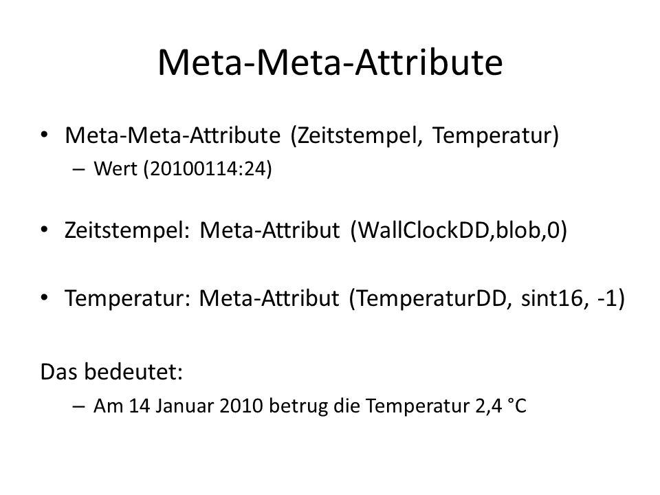 Meta-Meta-Attribute Meta-Meta-Attribute (Zeitstempel, Temperatur) – Wert (20100114:24) Zeitstempel: Meta-Attribut (WallClockDD,blob,0) Temperatur: Met
